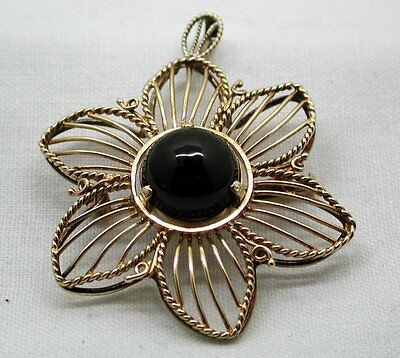 1940's Lovely 14ct Gold And Black Onyx Flower Shaped Brooch / Pendant