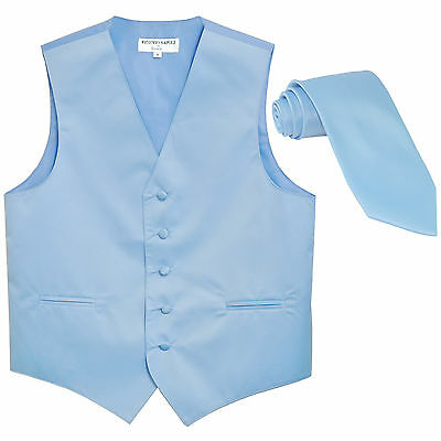 New Men's Formal Tuxedo Vest Waistcoat_Necktie light blue wedding party prom