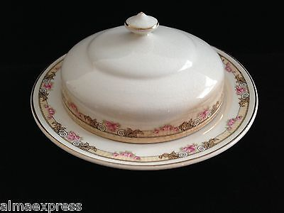 KT&K Knowles Taylor Ivory Semi Vitreous China Roses Yellow LIDDED BUTTER DISH