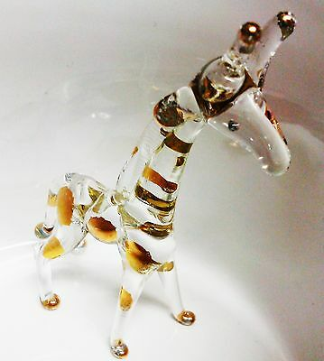 Giraffe Crystal Blown Glass Gold Color Wild Animal MiniSculpture Gift Collection