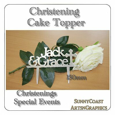 Christening - Baptism - Naming Day Cake Topper   Girl - Boy Or Twins *ocassions*