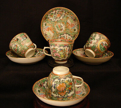 VINTAGE CHINESE PRE 1920's EARLY REPUBLIC PERIOD FAMILLE ROSE CUP & SAUCER SET 4