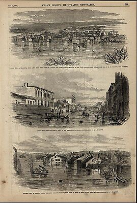 Views of Marietta Ohio During Flood Boats in Streets 1860 great antique print
