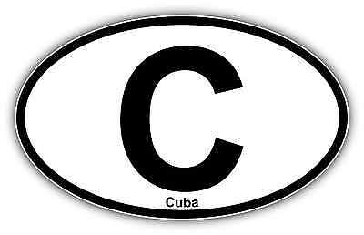 Cuba Vehicle Country Code Oval Car Per Window Sticker Decal