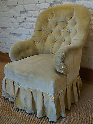 An Antique French Upholstered Nursing Chair inc. Reupholstery (exc. Fabric)