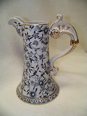 Antique Vintage Ironstone Transfer Ware Dark Blue Floral with Gold Trim