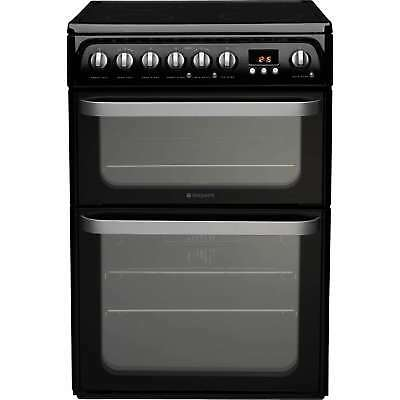 Hotpoint HUE61KS 60cm Electric Cooker with Double Programmable Oven in Black New