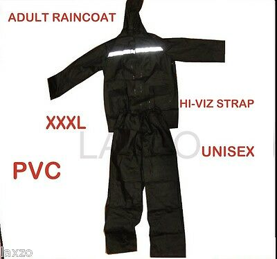 Rain Suit SET Black 2pc Hood with Neck Cord Zipped Front XXXL Twin Pocket