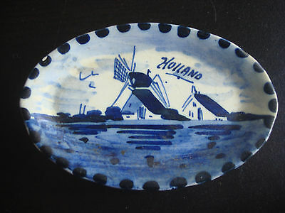 Small Vintage Delft W100 Holland Hand Painted Pin Dish