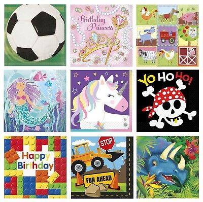 16 PARTY NAPKINS - Range of DESIGNS THEMES (Birthday Supplies & Decorations)