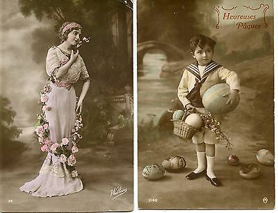 Carte Postale / Postcard / Fantaisie /  Lot 4 Cartes Femme / Enfant / Couple