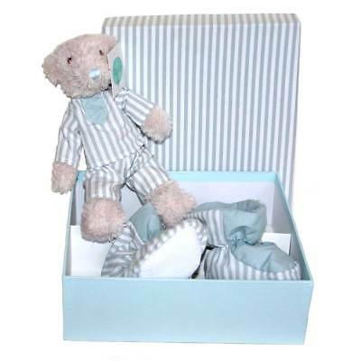 Blue Teddy and Baby Shoes in Gift Box by Bayla