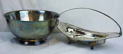 "Lot of 2 Vintage Silver Plate 10"" Serving Bowl And Oval Server With Carry Handle"