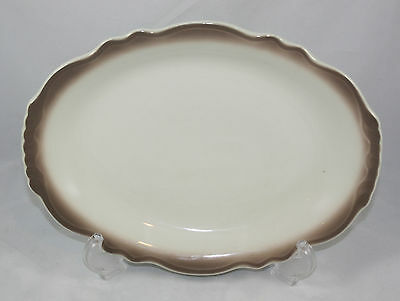 Homer Laughlin Best China TA-111 Oval Plate Serving Platter ~ Cream With Brown