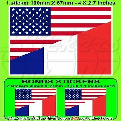 USA Uni Unis Amérique & FRANCE Drapeau 100mm Autocollant x1+2 BONUS stickers