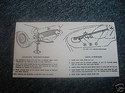1955 1956 Ford Thunderbird Trunk Jack Instruction Decal