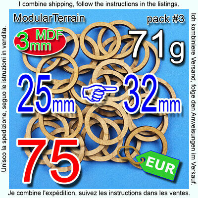 90x MDF RING ADAPTER 25mm TO 32mm ROUND BASE CIRCULAR SOCLE WAR HAMMER LASER CUT