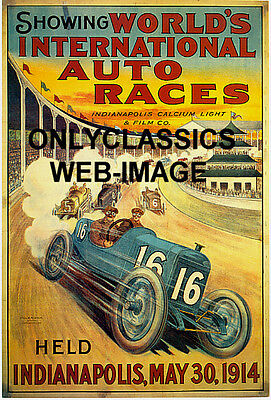 INDIANAPOLIS MOTOR SPEEDWAY ART DECO AUTO RACING RACE CAR POSTER INDY 500 RACER