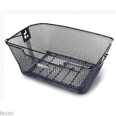 Basil Capri Rear Hook-On Basket Black (Rear Rack Req) Steel Mesh Frame & Handle