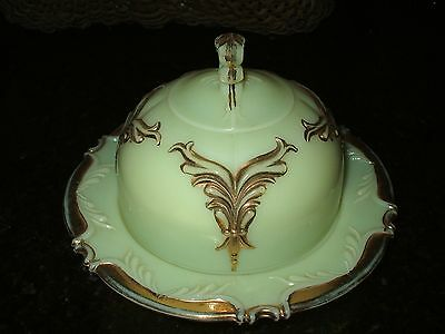 Heisey Custard Glass Ivorina Winged Scroll Gold Trim Butter Dish with Lid