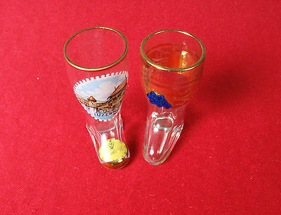 Lot of 2 Vintage Collector Glass Amsterdam Luzern Shoes Gold Details
