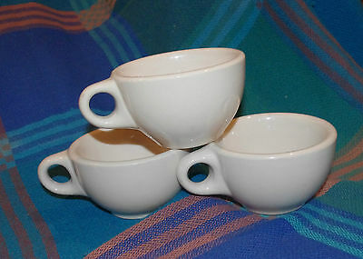 WALLACE Restaurant DINER Ware ADOBE TAN 3 COFFEE CUP LOT POST WW II VERY CLEAN
