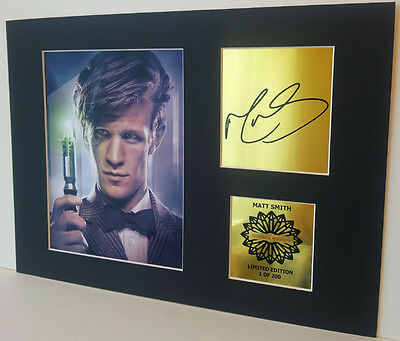 Matt Smith Doctor Who signed Gold limited edition Mounted Print 12 x 8 in