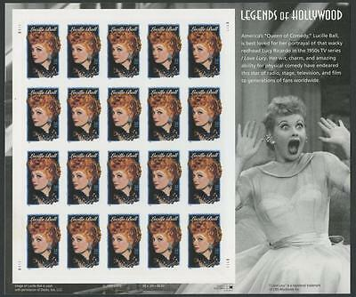 "#3523a ""LUCILLE BALL"" DIE CUTTING OMITTED PANE OF 20 MAJOR ERROR WL7803"
