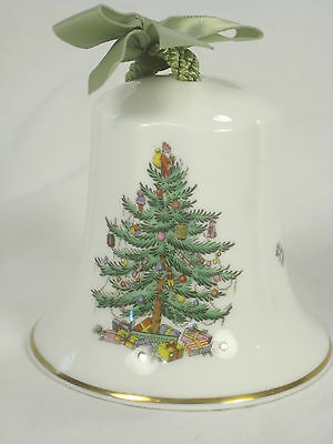 Spode Christmas Tree Bell Green Ribbon Merry Christmas 2.5 Inches