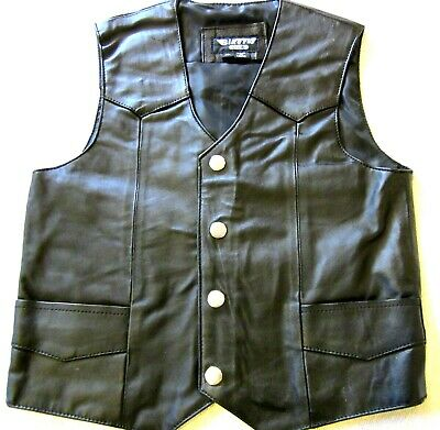 Kids Toddlers Black Soft Leather Biker Motorcycle Mc Vest Medium