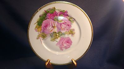 Antique C T Altwasser Plate with Hand painted Roses Heavy Gold Trim circa 1900