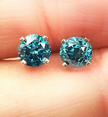 0.40ct Genuine Natural Blue Diamond 14K 14KT Solid White Gold Earring Stud Pair