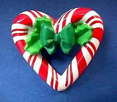 Christmas BROOCH Pin CANDY CANE Heart  WREATH Vintage  Xmas Vtg Costume Jewelry
