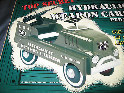 HYDRAULIC WEAPON CARRIER PEDAL VEHICLE - 1:3 SCALE - XONEX NEW & RARE + COA