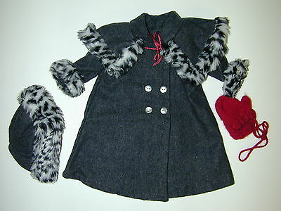 """American Girl 18"""" Doll Nellie Holiday Coat Mittens Hat Collar Excellent Faux Fur"""