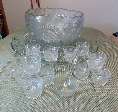 L E Smith Crystal Slewed Horseshoe 15Pc Punch Bowl Set w/ Under Plate Cups Ladle