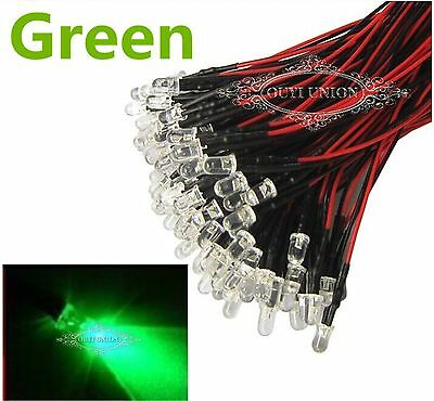 New 10PCSx Prewired LED 3mm Lamp 12V Bright Green Light 20cm 25 Degree Pre wired
