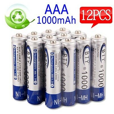 OZ L 12pcs 1000mAh Ni-MH 1.2V Recharge Rechargeable Battery AAA