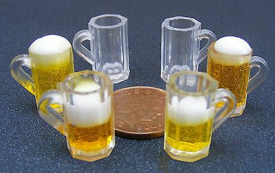 1:12 Scale Dolls House Miniature Plastic Glass With Beer - Lager Or Empty