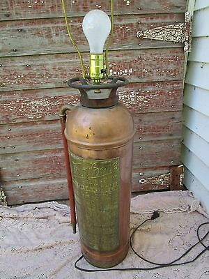 Antique Vintage Copper and Brass Fastfome Fire Extinguisher LAMP
