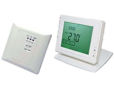 Kabellos Wireless Digital Thermostat Programmierbare RF Empfänger+Fernbedienung