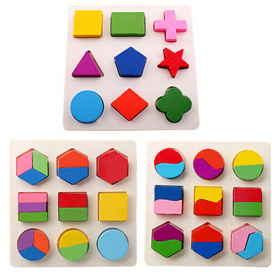 Wooden Geometry Block Puzzle Bisection Early Learning Kid Baby Educational Toy