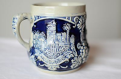 Made in Germany Pottery Mug Cobalt Blue, Castles Stoneware Beer Mug / Pug Stein