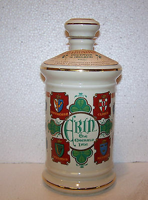 VINTAGE PORCELAIN IRELAND DECANTER. OLD FITZGERALD COUNTIES OF IRELAND. RARE!
