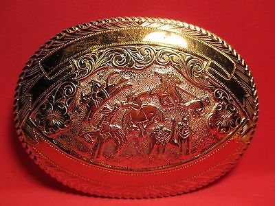 Hand Made FANCY HEAVY 5 Event Belt Buckle MAKER MARKED in USA MAKE OFFER!