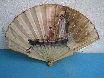 Antique fan in celluloid and silk hand painted