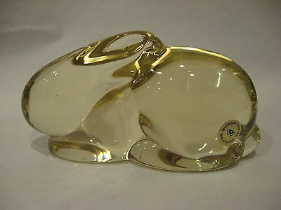 Vintage Genuine Lead crystal Rabbit .Clear yellow. Made in Germany