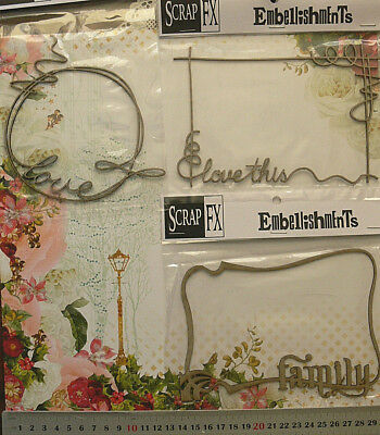 CHIPBOARD Cut Out Die Cuts Family & Love Frames x 3 Style Choice - Scrap FX F