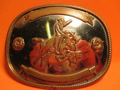Old Cowboy Riding Wild Bull WESTERN RODEO BELT BUCKLE German Silver MAKE OFFER