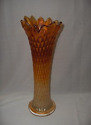 Vintage Northwood Marigold  Carnival Glass Stretch Swung Vase Diamond Point RARE